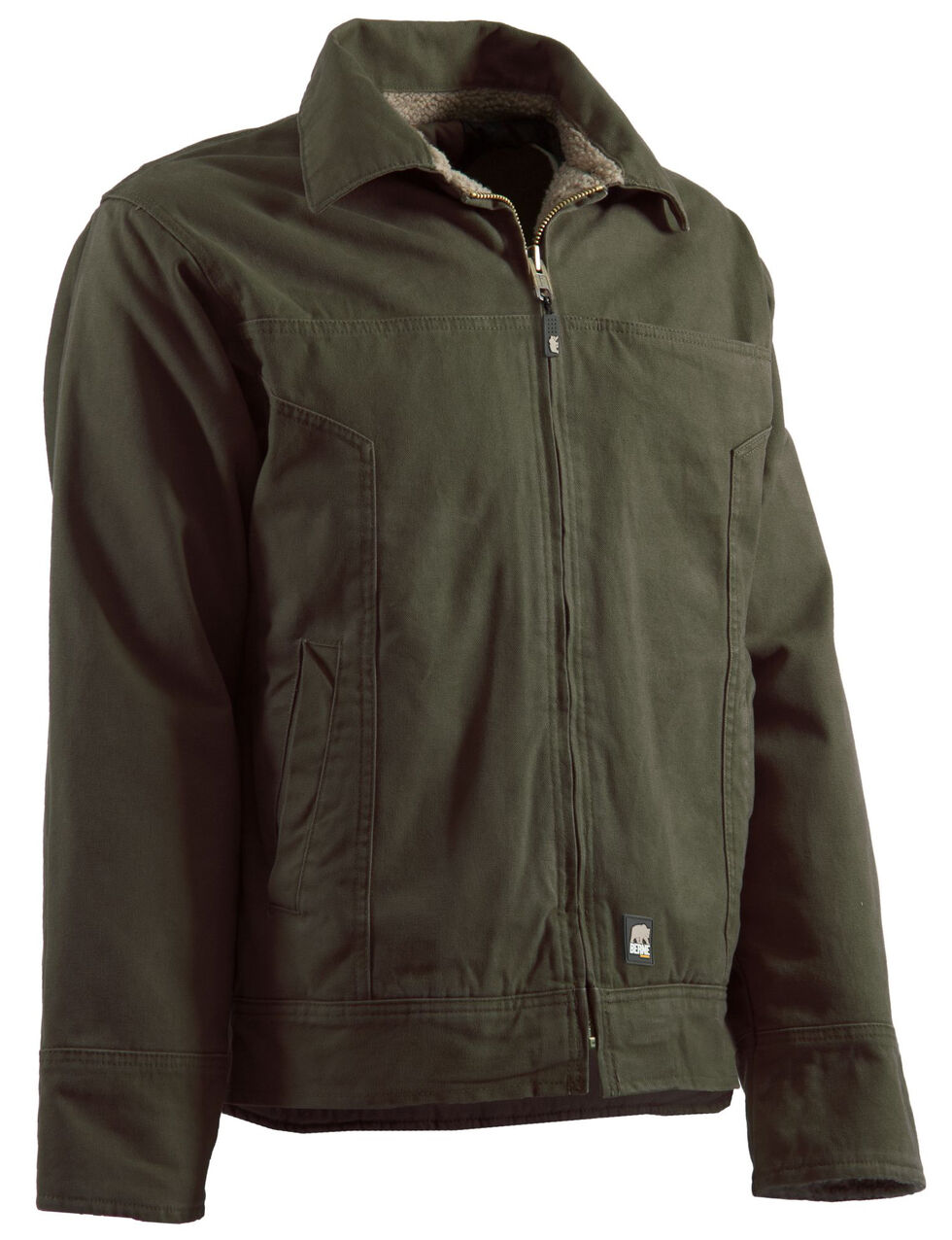 Berne Hickory Washed Aviator Jacket, Moss, hi-res