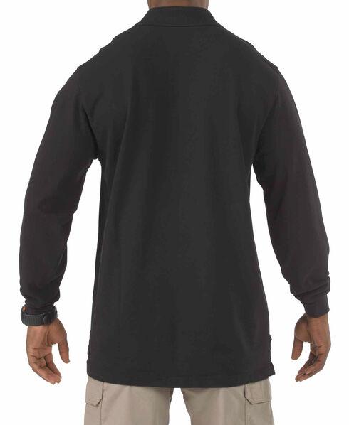 5.11 Tactical Professional Long Sleeve Polo Shirt - Tall Sizes (2XT - 5XT), Black, hi-res