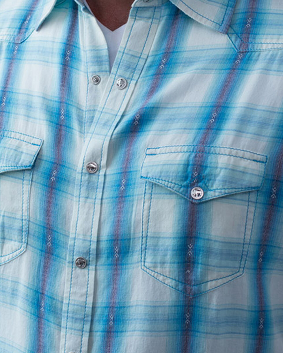 Ryan Michael Men's Short Sleeve Ombre Plaid Shirt, Blue, hi-res