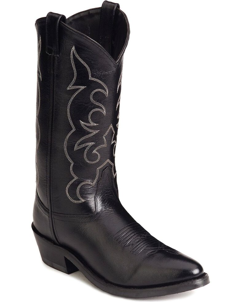 Old West Trucker Western Work Boots - Soft Toe, Black, hi-res