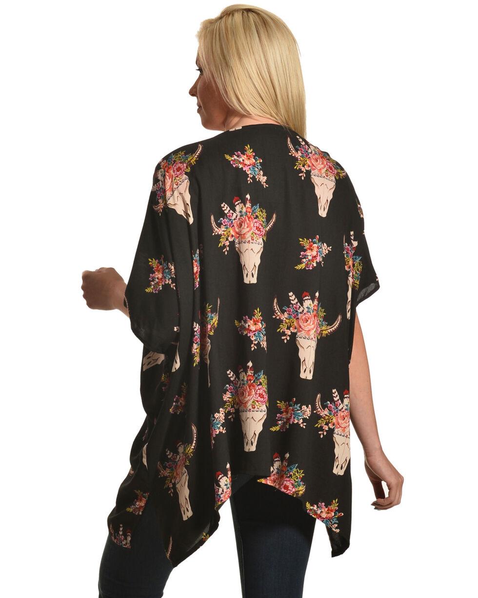 Angie Women's Black Steerhead Kimono  , Black, hi-res