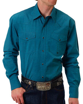 Roper Men's Teal Western Long Sleeve Shirt, Teal, hi-res