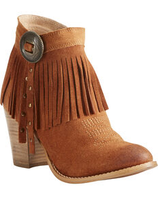 Ariat Women's Unbridled Avery Fringe Concho Booties - Round Toe, Suntan, hi-res