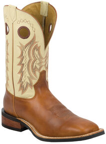 Tony Lama Men's Suntan Rebel Americana Cream Top Cowboy Boots - Square Toe , Suntan, hi-res