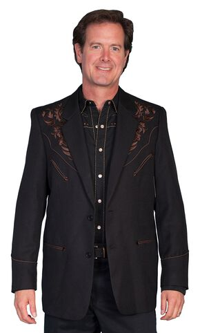 Scully Black Floral Embroidered Western Jacket, Chocolate, hi-res