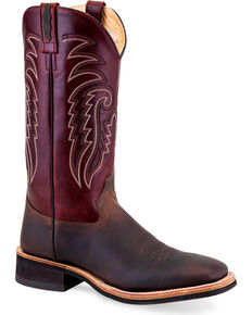 "Old West Men's 13"" Two Tone Leather Cowboy Boots - Square Toe, Brown, hi-res"