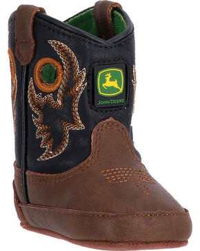 "John Deere Infant Boys' 3"" Pull On Boots - Broad Square Toe , Black, hi-res"