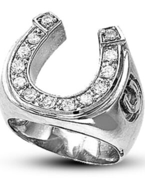 Kelly Herd Men's Silver Engraved Horseshoe Ring , Silver, hi-res