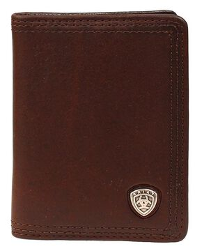 Ariat Logo Concho Bi-fold Wallet, Copper, hi-res