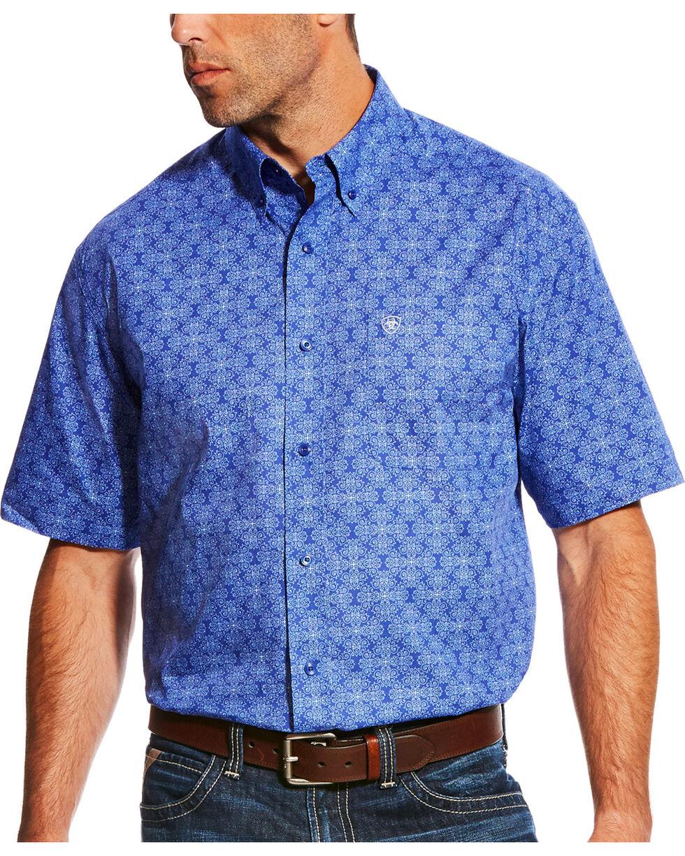 Ariat Men's Casual Series Merryll Blue Print Short Sleeve Button Down Shirt, Blue, hi-res