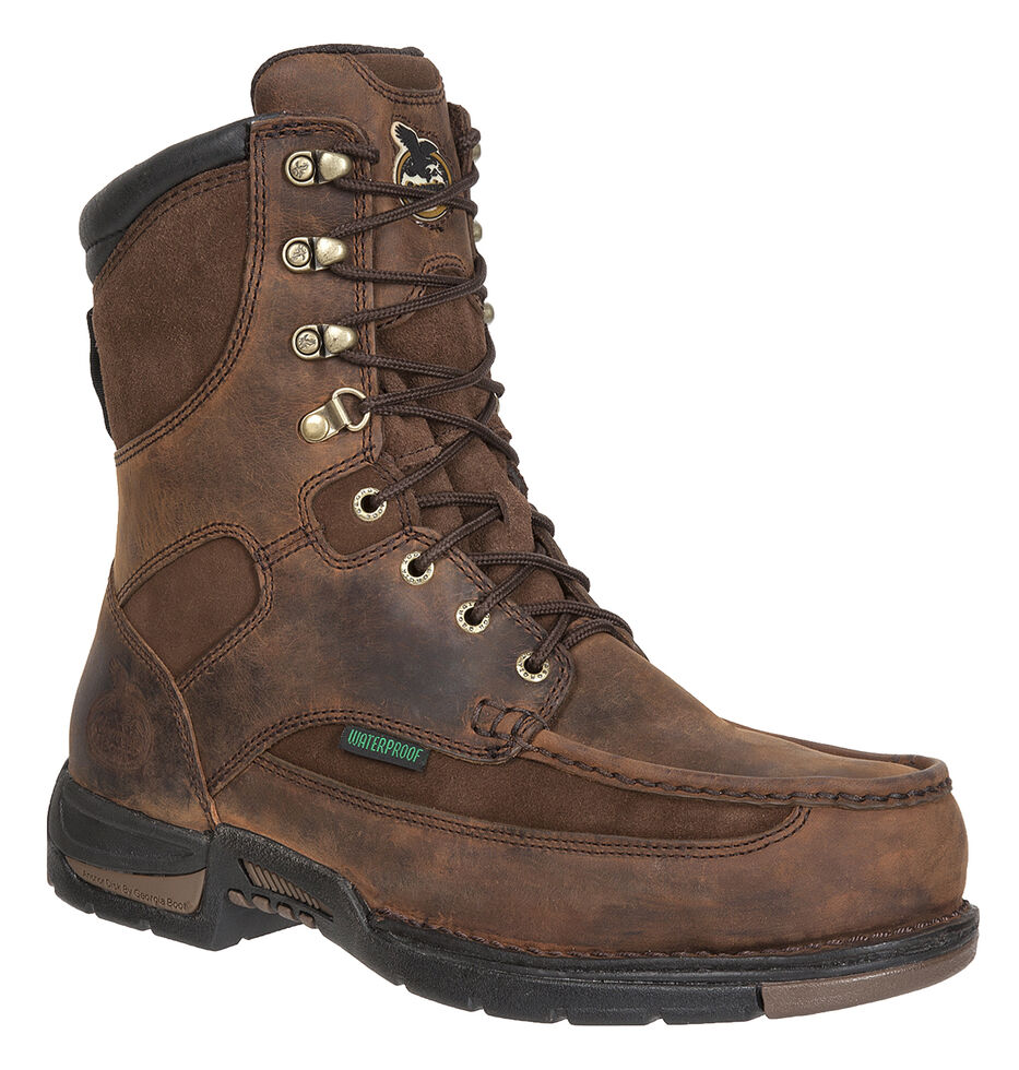 Georgia Athens Waterproof Work Boots - Moc Toe, Brown, hi-res