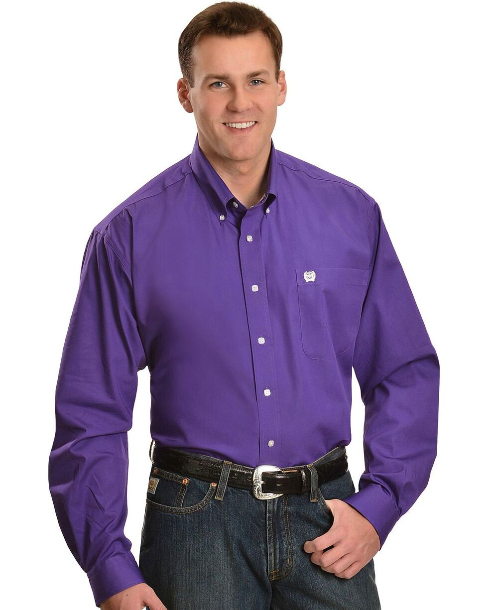 Cinch Men's Solid Purple Button-Down Western Shirt, Purple, hi-res