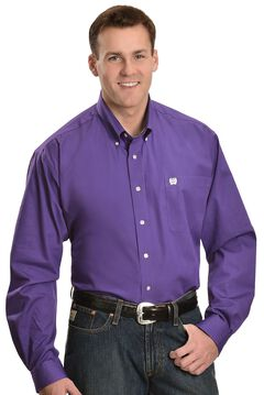 Cinch Royal Purple Button Shirt - Big & Tall, Purple, hi-res