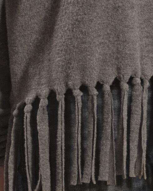 Derek Heart Women's Black Drop Shoulder Cowl Neck Fringe Sweater , Black, hi-res
