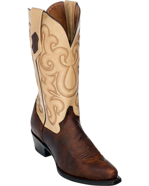 Ferrini French Calf Leather Pearl Cowgirl Boots - Snip Toe, Chocolate, hi-res