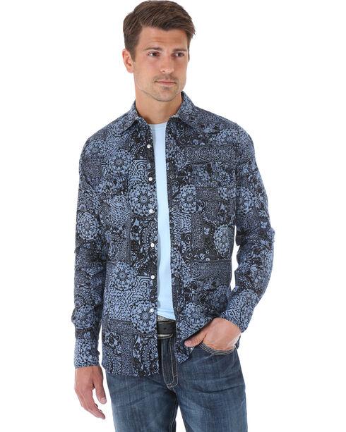 Wrangler 20X Men's Black & Navy Patchwork Long Sleeve Snap Shirt, Navy, hi-res