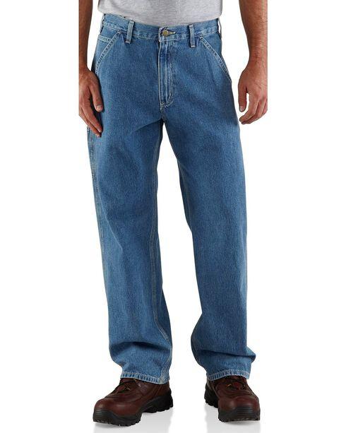 Carhartt Washed Denim Original Fit Work Dungaree Jeans - Big & Tall, Stonewash, hi-res
