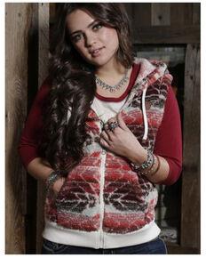 Cruel Girl Women's Aztec Fleece Hooded Vest , Purple, hi-res