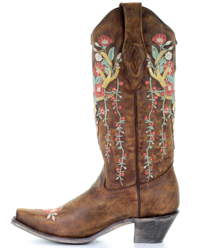 Corral Women's Deer Skull Western Boots - Snip Toe, Tan, hi-res