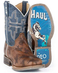 Tin Haul Boys' Rough Stock Western Boots - Square Toe, Brown, hi-res