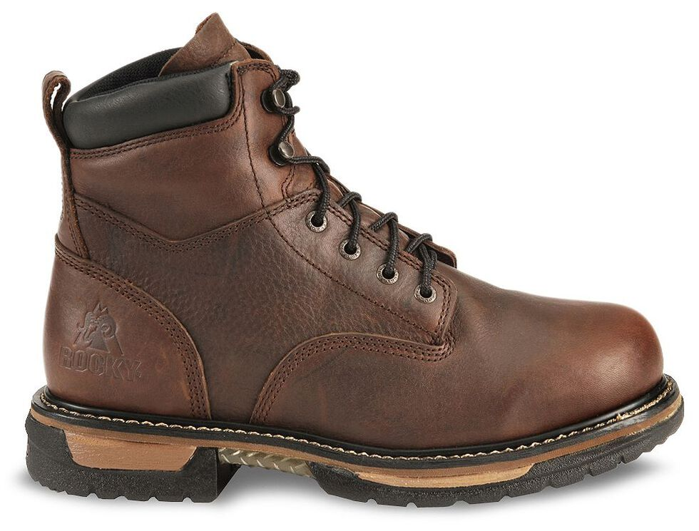 "Rocky IronClad 6"" Waterproof Lace-Up Work Boots - Round Toe, Bridle Brn, hi-res"