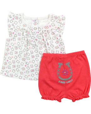 Farm Girl Infant Girls' Horseshoe Shirt and Pant Set, Pink, hi-res