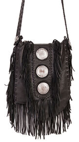 Scully Black Leather Fringe with Large Conchos Shoulder Bag, Black, hi-res