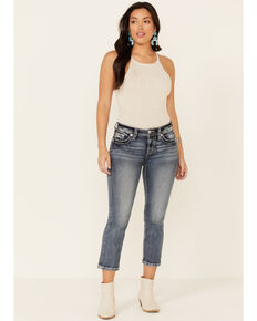 Miss Me Women's Embossed Wing Bootcut Jeans, Blue, hi-res