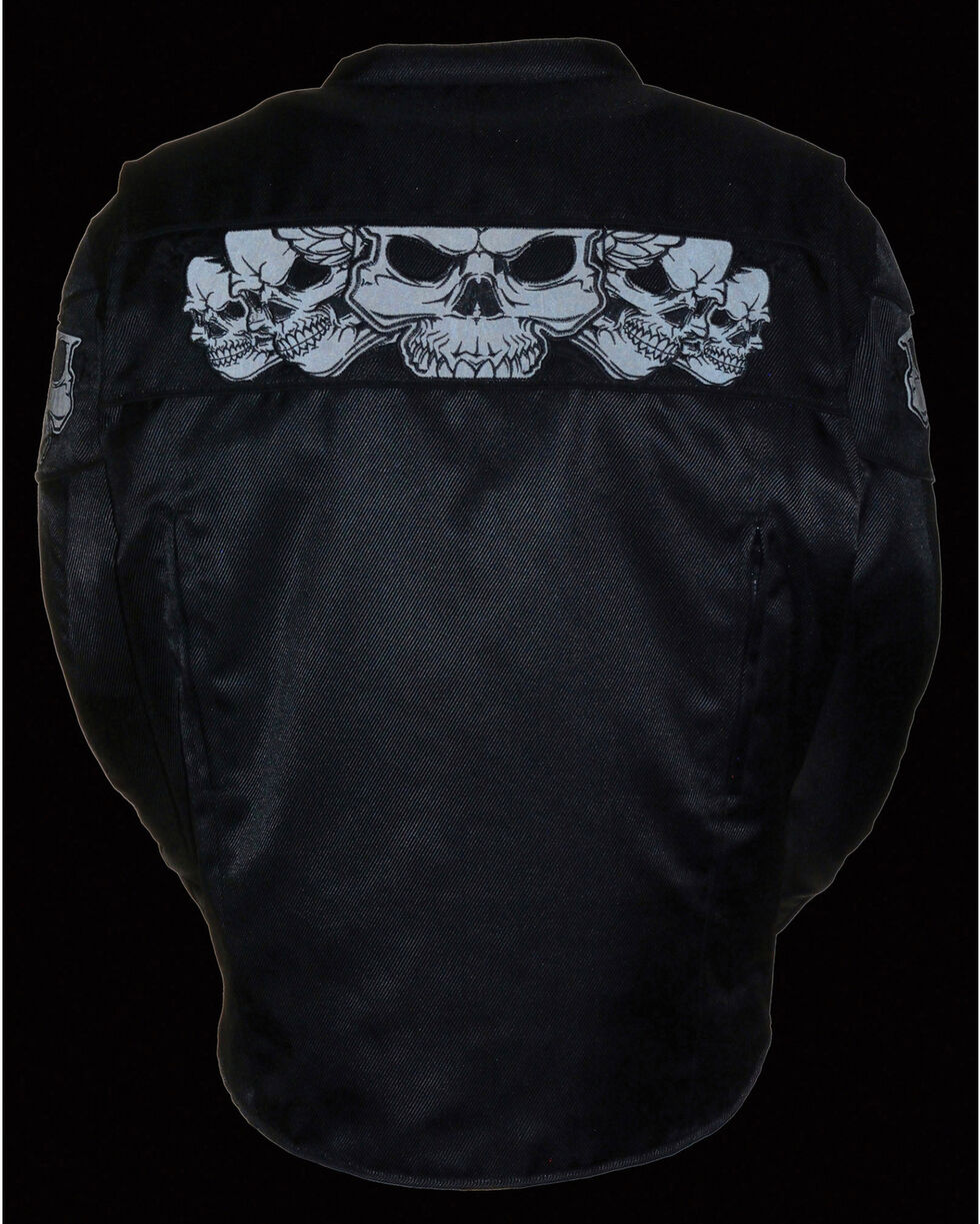 Milwaukee Leather Men's Reflective Skulls Textile Jacket - Big - 5X, Black, hi-res