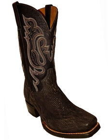 Dan Post Men's Exotic Shark Western Boots - Square Toe, Chocolate, hi-res