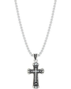 Montana Silversmiths Bead and Flourish Cross Necklace, Silver, hi-res