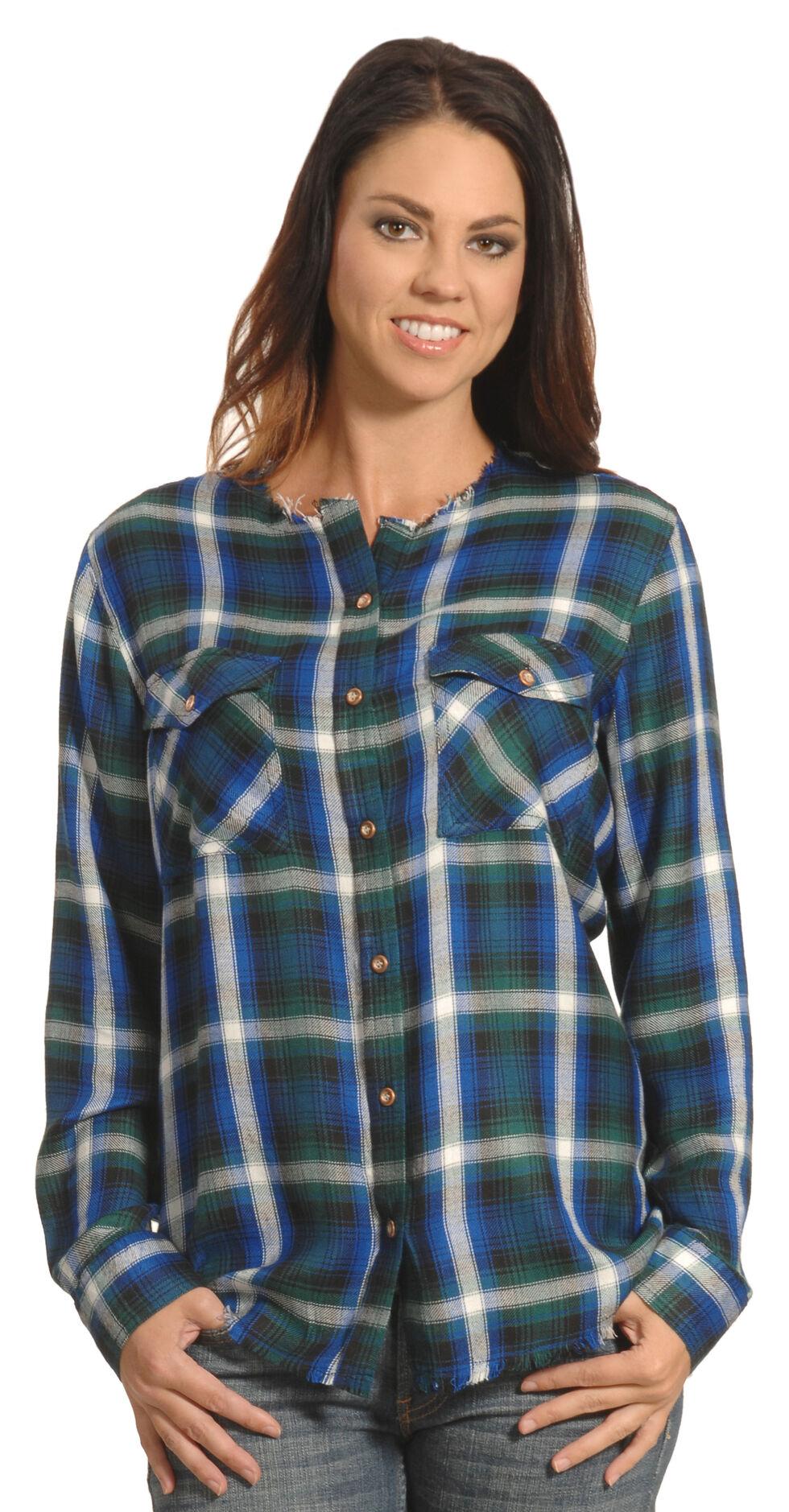 New Direction Women's Frayed Edge Blue Plaid Shirt - Plus Sizes , , hi-res