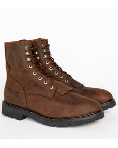 "Cody James Men's 8"" Waterproof Lace-Up Kiltie Work Boots - Round Toe, Brown, hi-res"