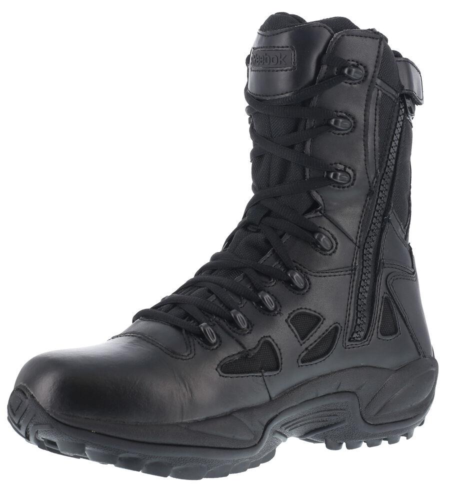 "Reebok Men's Rapid Response 8"" Work Boots - Round Toe, Black, hi-res"
