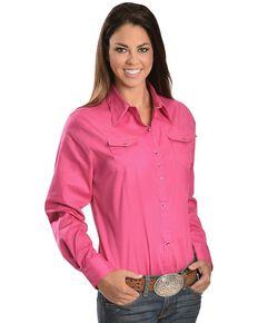 Wrangler Rhinestone Snap Western Shirt, Pink, hi-res