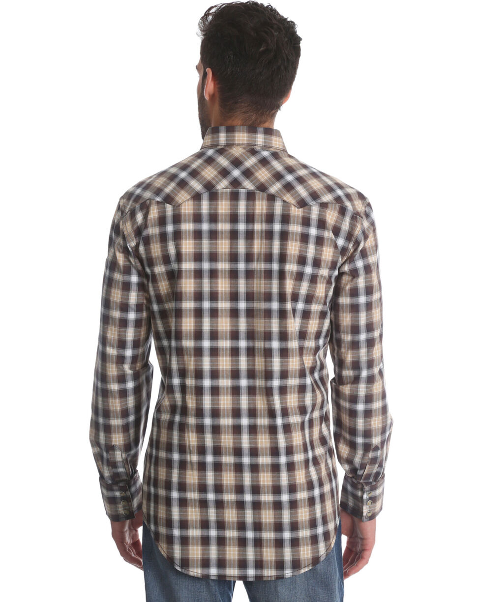 Wrangler Retro Men's Brown Plaid Long Sleeve Shirt, Brown, hi-res