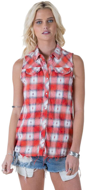 White Crow Dylan Plaid Sleeveless Top, Chili, hi-res