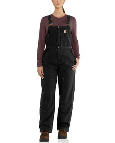 Carhartt Women's Weathered Duck Wildwood Bib Overalls , Black, hi-res
