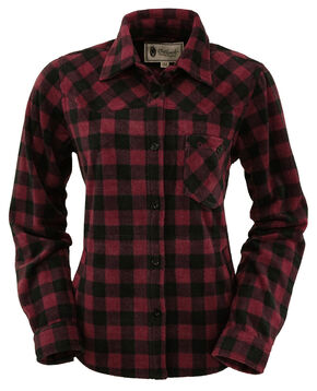 Outback Trading Company Women's Fleece Big Shirt, Wine, hi-res