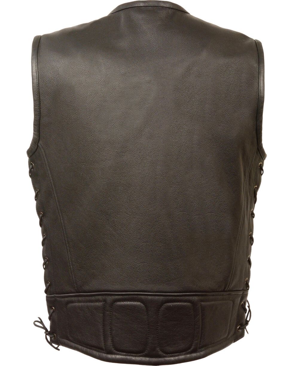 Milwaukee Leather Men's Zipper Front Full Side Lace Leather Vest - 5X, Black, hi-res