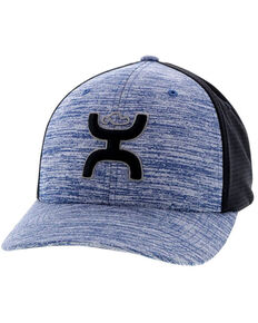 HOOey Men's Black Ash Flex Fit Ball Cap , Navy, hi-res