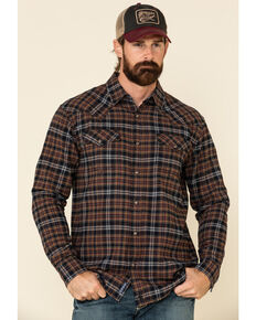 Moonshine Spirit Men's Spice Up In Smoke Small Plaid Long Sleeve Western Flannel Shirt , Brown, hi-res