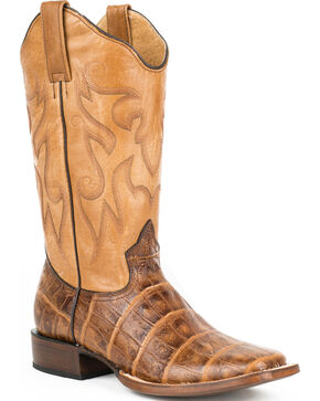 Roper Brown Distressed Croc Print Cowgirl Boots - Square Toe , Brown, hi-res