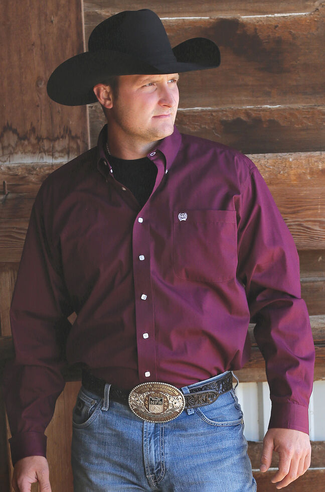 C‌inch Men's Solid Burgundy Button Long Sleeve Shirt - Big & Tall, Burgundy, hi-res