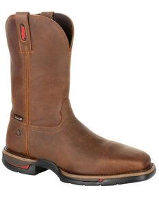 Rocky Men's Long Range Waterproof Western Work Boots - Steel Toe, Brown, hi-res