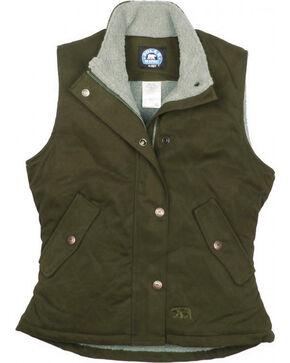 Key Women's Olive Sherpa Lined Twill Vest, Olive, hi-res