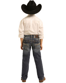 Rock & Roll Denim Boys' Dark Reflex Revolver Stretch Slim Straight Jeans, Blue, hi-res