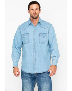 Ely Cattleman Men's Bleached Denim Long Sleeve Western Shirt - Big , Light Blue, hi-res