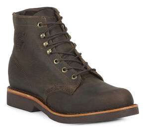 "Chippewa 6"" Lace-Up Work Boots - Round Toe, Chocolate, hi-res"