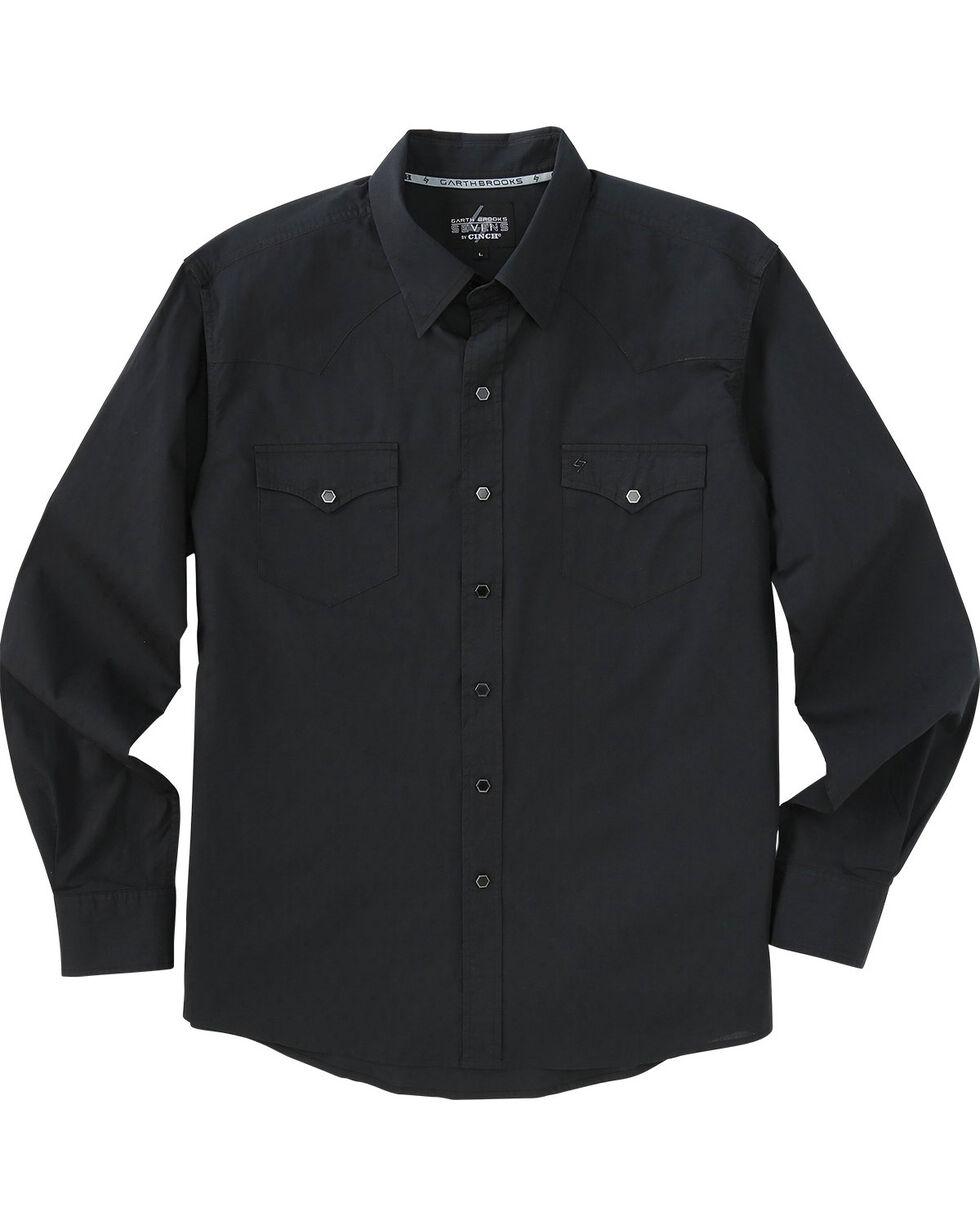 Garth Brooks Sevens by Cinch Black Jacquard Western Shirt , Black, hi-res